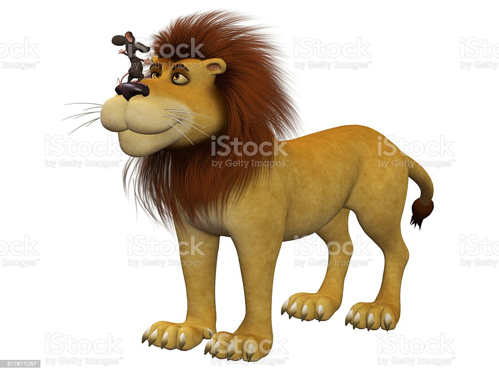 Courage, 3d cartoon mouse with a lion stock photo