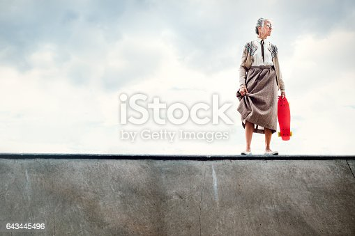 A senior woman attempting to skateboard at a skatepark stands at the edge of a halfpipe debating whether to drop in.   A humorous depiction of being young at heart, exercising with extreme sports even in your 80's.