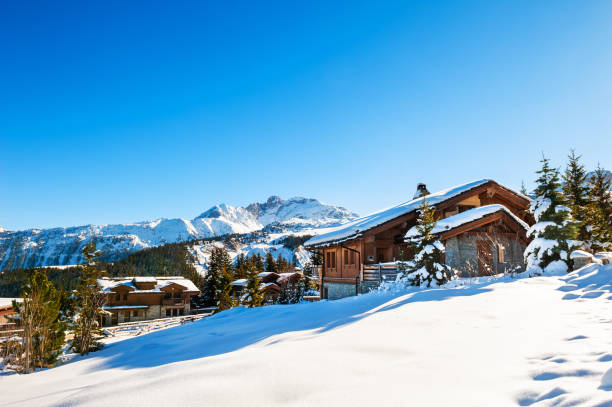 Courchevel village in Alps mountains, France. Courchevel village in Alps mountains, France. Winter ski resort. Famous travel destination chalet stock pictures, royalty-free photos & images
