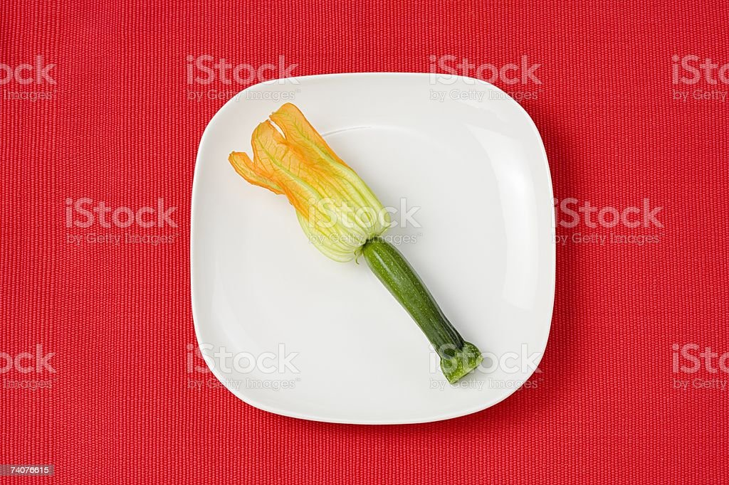 Courgette on a plate stock photo