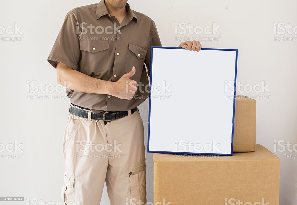 Courier delivery offers his services royalty-free stock photo