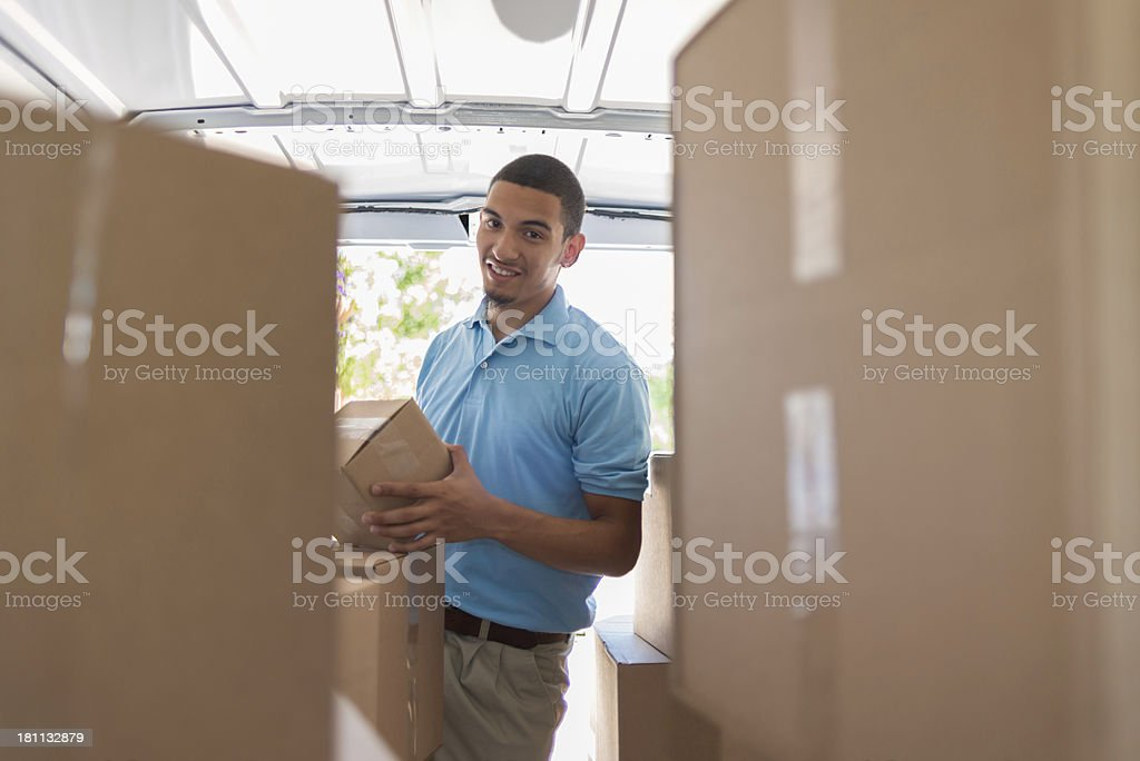 Courier in Van royalty-free stock photo