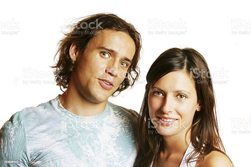 Courious looking couple stock photo