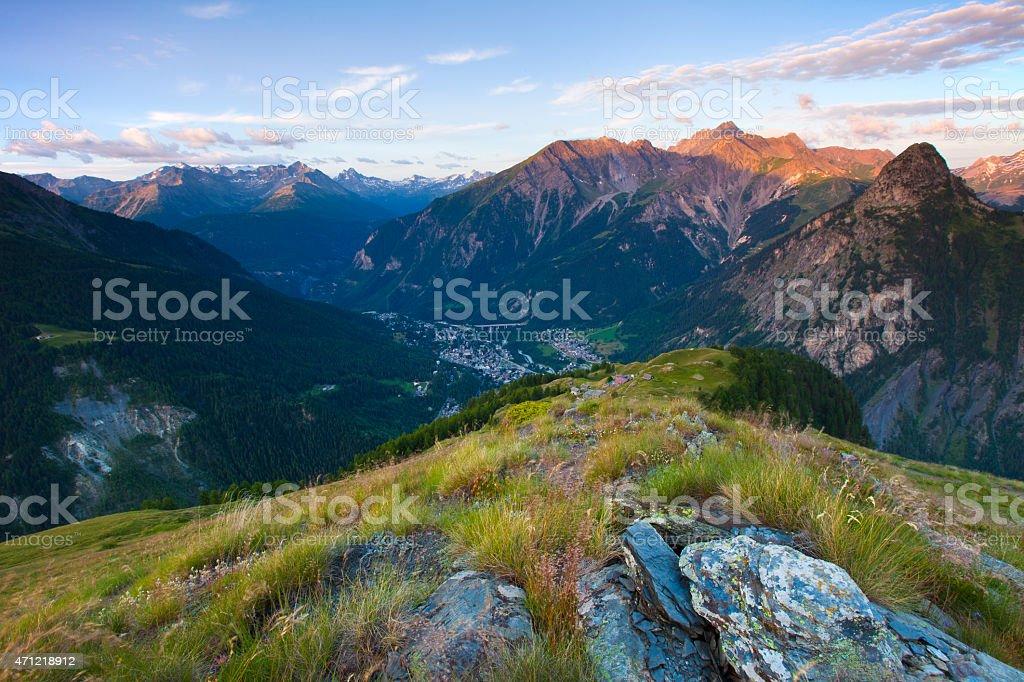 Courmayeur at Sunrise, Valle d'Aosta, Italy stock photo