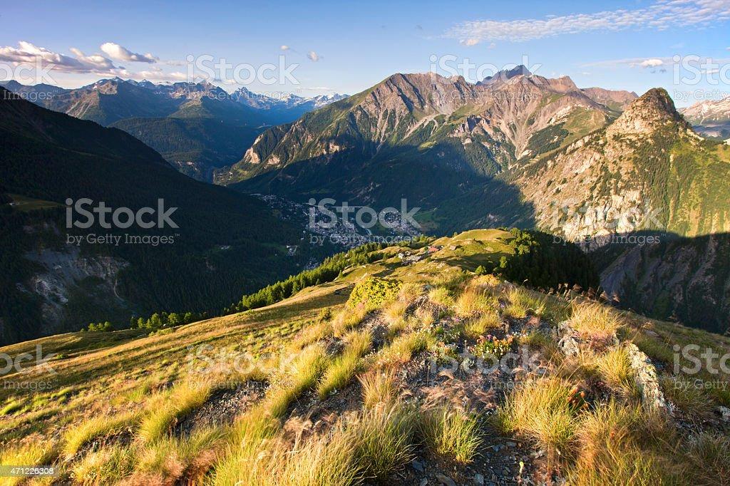 Courmayeur from Above, Aosta Valley, Italy stock photo