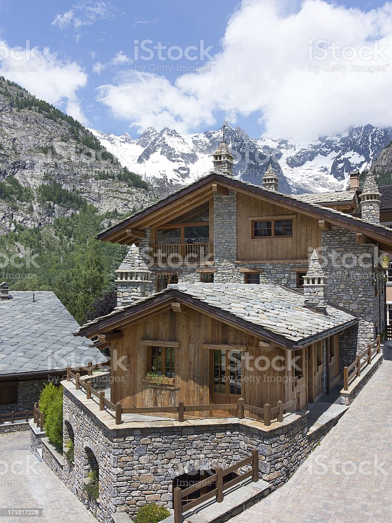 Courmayeur in Italy and Mont Blanc mountains stock photo