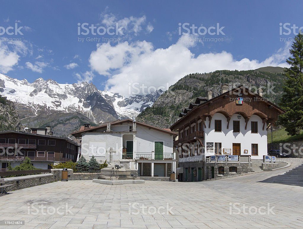 Courmayeur in Italy and Mont Blanc stock photo