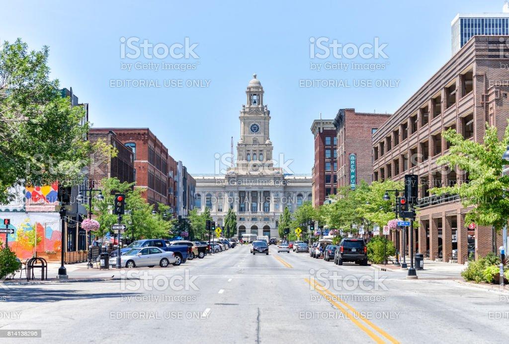 Court Avenue in Downtown Des Moines, Iowa stock photo