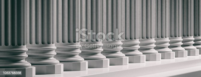 Courthouse facade.Marble classical pillars row with steps. 3d illustration