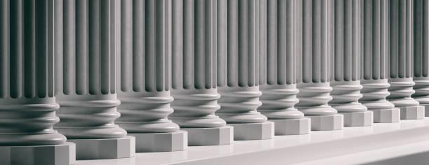 法院外觀。大理石經典柱子背景。3d 插圖 - 銀行 財政大樓 個照片及圖片檔