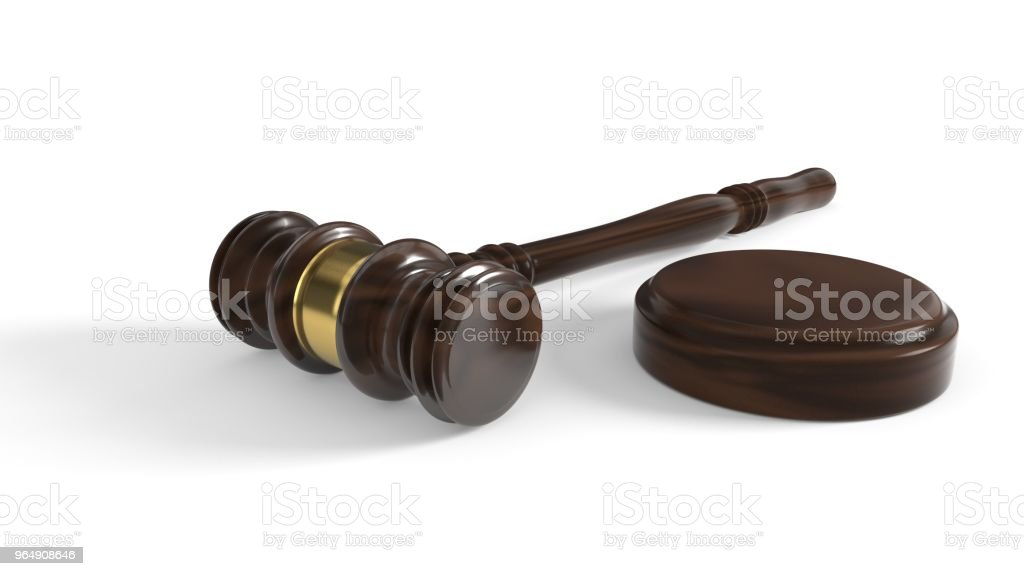 Court gavel on a white background, 3d rendering royalty-free stock photo