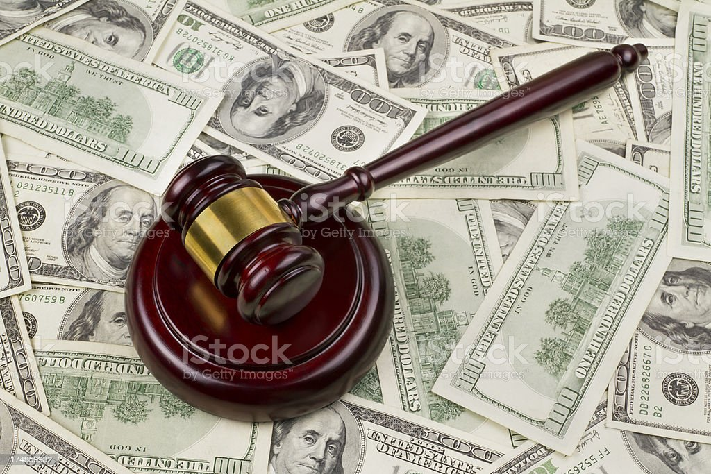 Court Gavel On Top Of Money stock photo