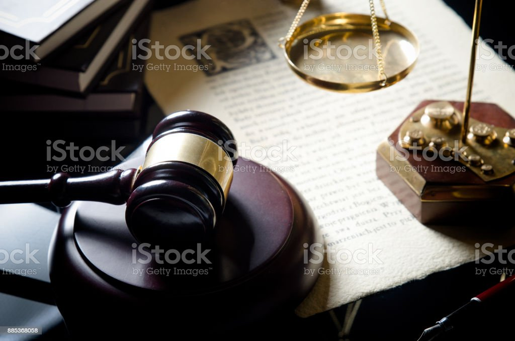 Court gavel, scale of justice, law theme. stock photo