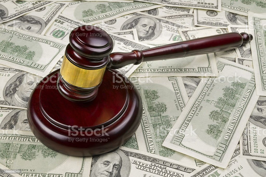 Court Gavel With Money stock photo