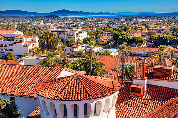 Court House Orange Roofs Buildings Pacific Ocean Santa Barbara C Court House Buildings Orange Roofs Pacific Oecan Santa Barbara California santa barbara california stock pictures, royalty-free photos & images