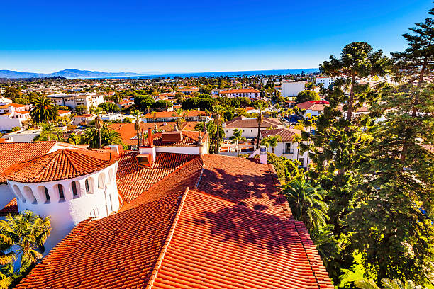 Court House Orange Roofs Buildings Pacific Ocean Santa Barbara California Court House Buildings Orange Roofs Pacific Oecan Santa Barbara California santa barbara california stock pictures, royalty-free photos & images