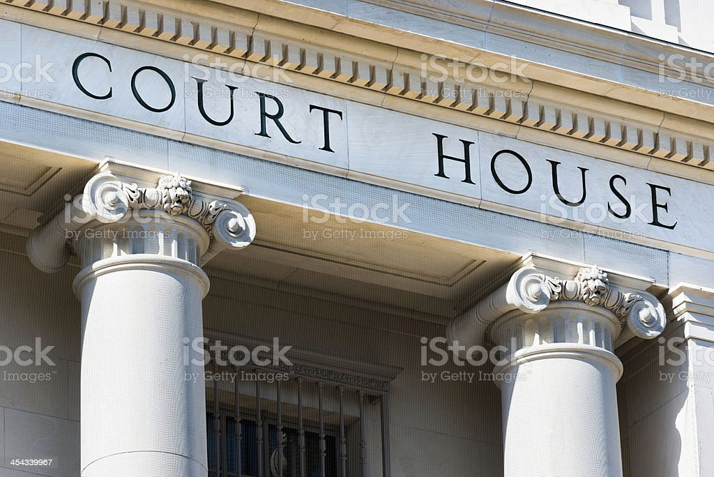 Court House words on building with columns, San Antonio Texas stock photo