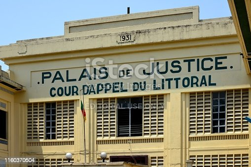 Cameroon, Douala: Palace of Justice - Court of Appeal of the Littoral province - 1er arrondissement, Bonanjo - Palais de Justice, cour d'appel - French colonial architecture - facade with slits for ventilation in the tropical climate.