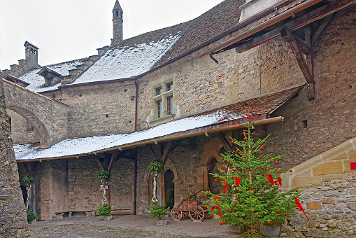 Court of Chillon Castle with Christmas tree