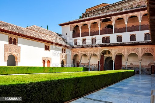 istock Court of the Myrtles in Nasrid Palace in Alhambra, Granada, Spain 1193368810
