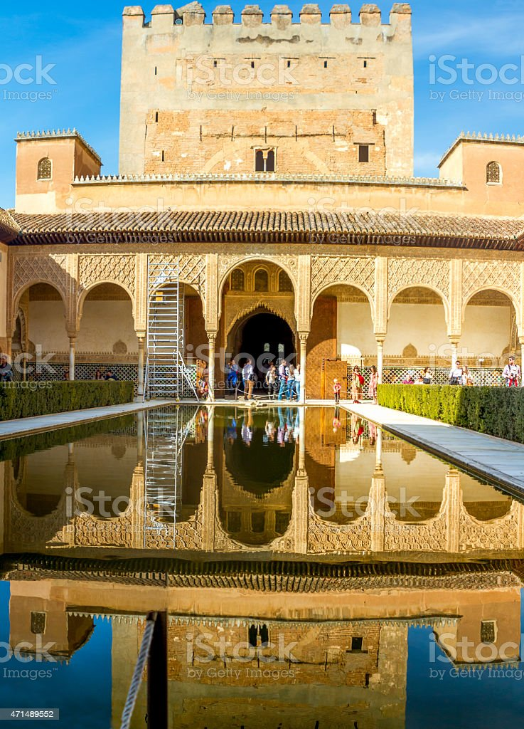 Court of the Myrtles inside Alhambra, Granada, Spain. stock photo