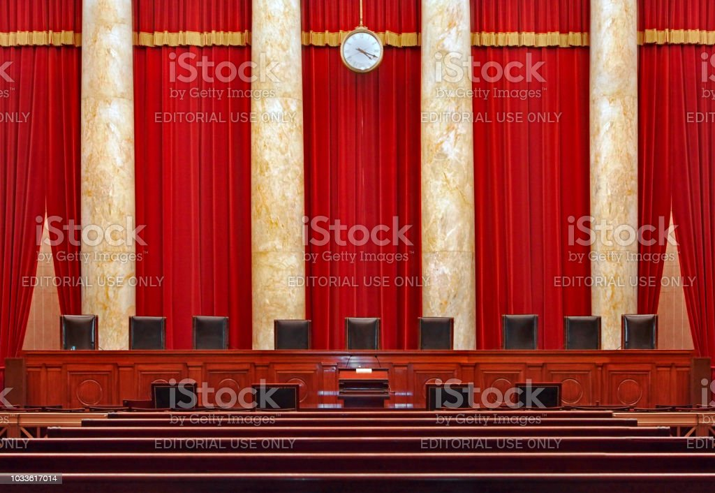 Court room interior at the United States Supreme Court stock photo