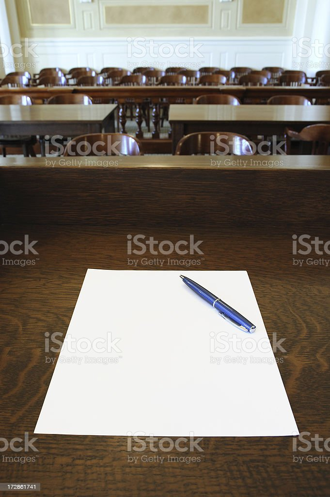 Court Room Presentation with Pen stock photo