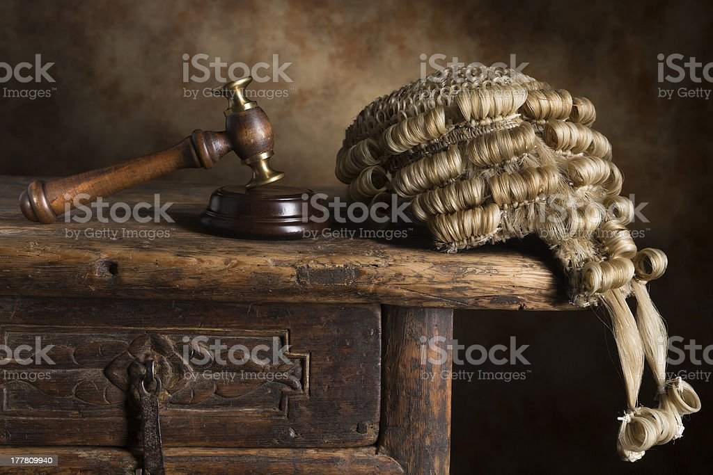 Court wig and hammer stock photo