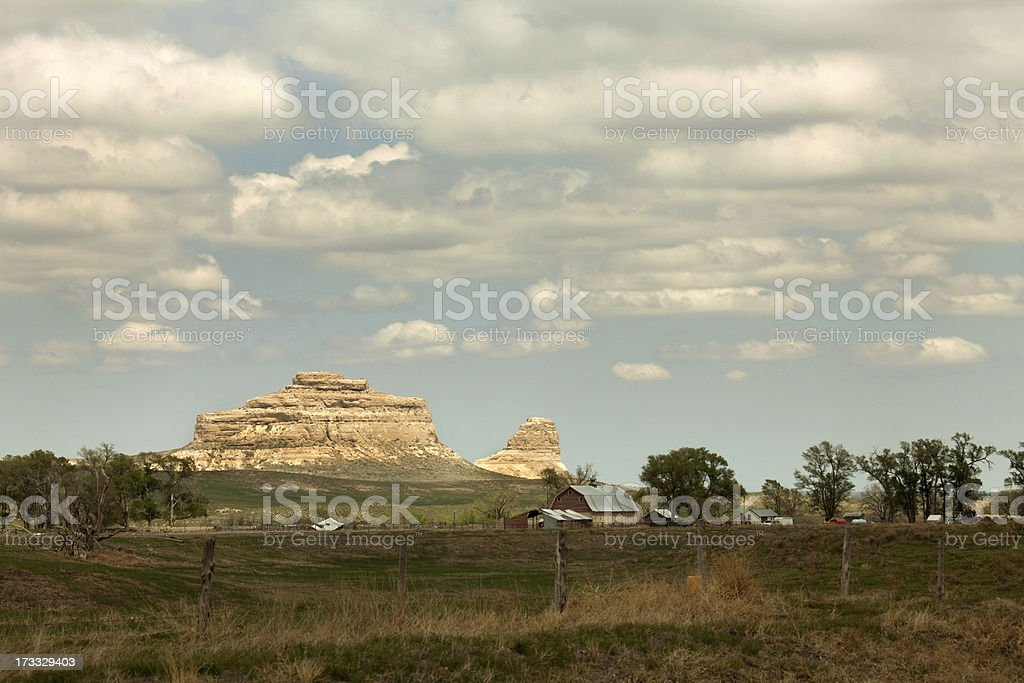 Courthouse and Jail Rocks Historic Site Nebraska royalty-free stock photo