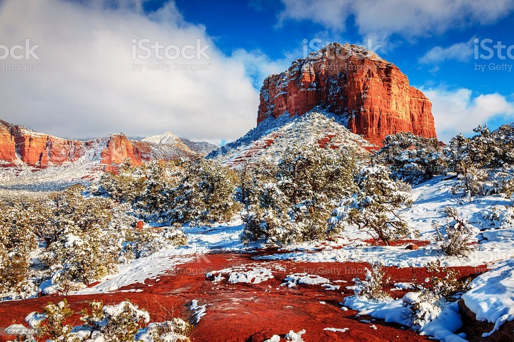 Courthouse Butte under snow stock photo