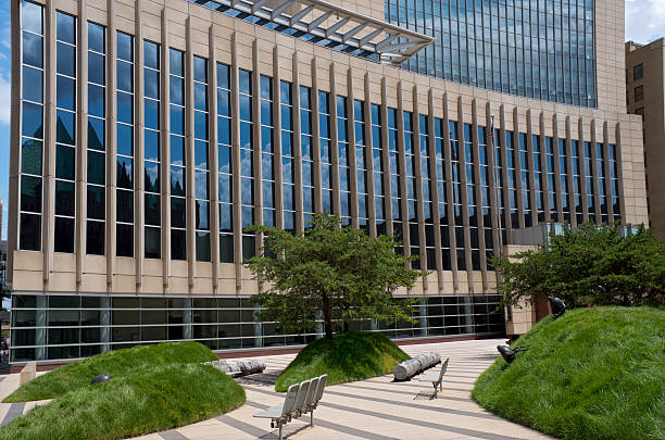 Courthouse Facade and Plaza in Minneapolis stock photo
