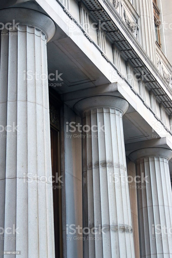 Courthouse pillars at an angle - vertical stock photo