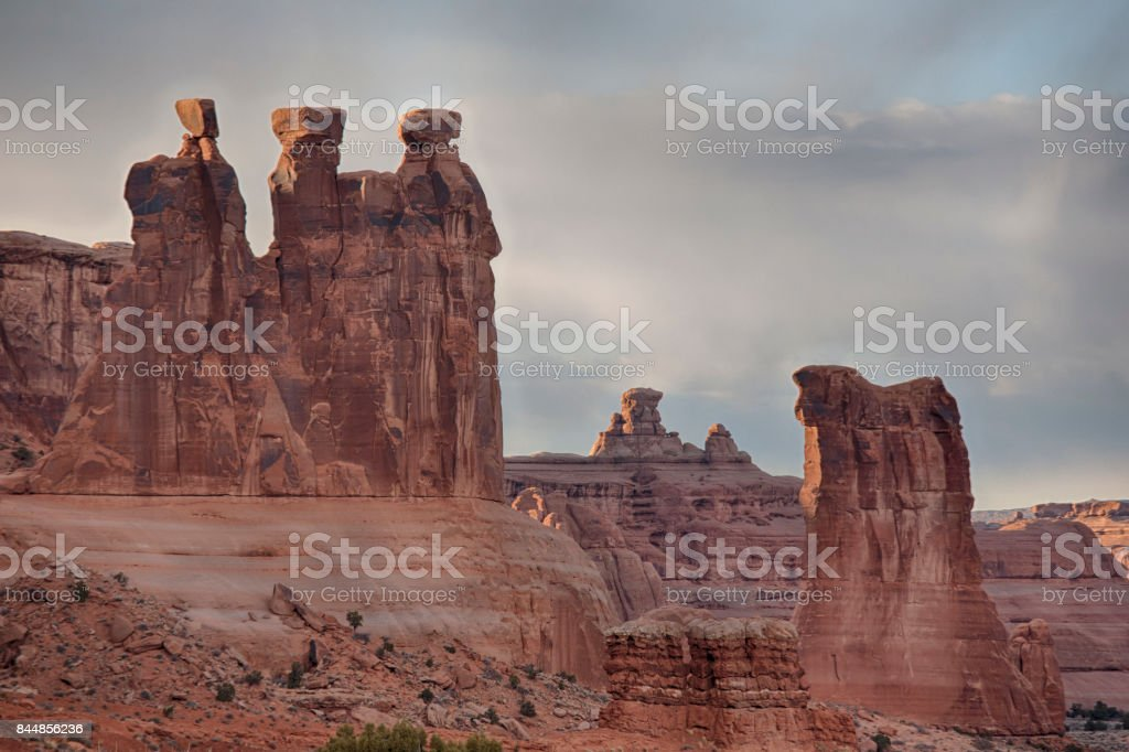 Courthouse Towers, Arches National Park stock photo