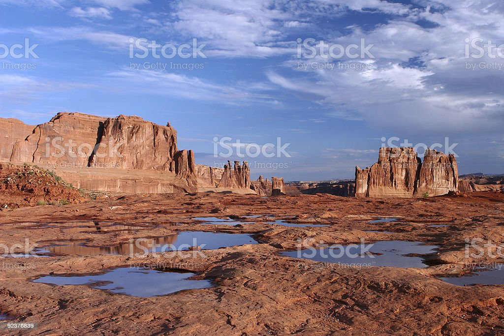 Courthouse Towers Reflections Arches National Park royalty-free stock photo