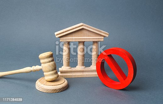 istock Courthouse with judge's gavel and sign NO. concept of censorship and the production of restrictions and laws on restriction. Anti-popular laws, usurpation of power, conservative views. Lack of justice 1171284539