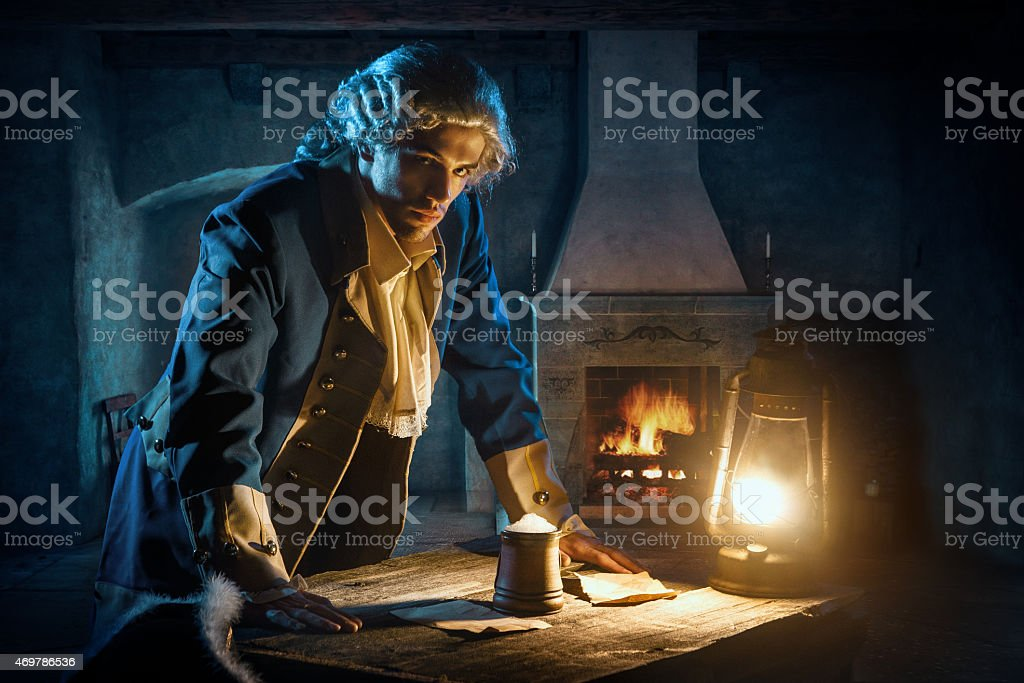 courtier or officer 17-18 age in tavern stock photo