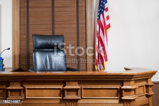 A gorgeous courtroom bench in an American courthouse.