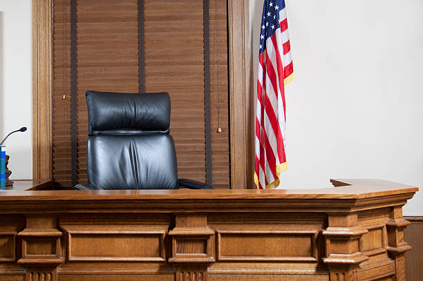 Courtroom Bench stock photo