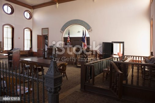Beautiful Courtroom in Red River County Texas Courthouse, in North-East Texas town of Clarksville.   Built in 1885.  (To see all my Texas Courthouses, click here)