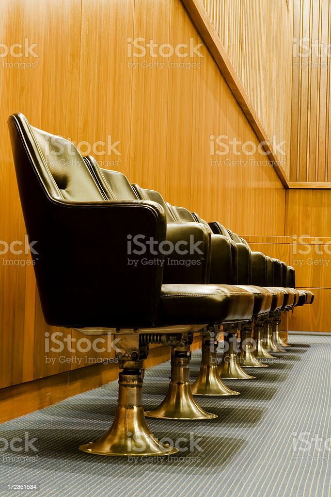 Courtroom Jury Box and Jurors' Chairs stock photo