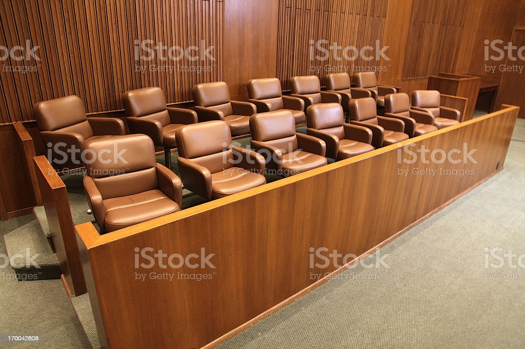 Courtroom Jury Box stock photo