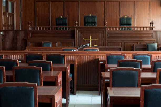 courtroom Table and chair in the courtroom of the judiciary. courtroom stock pictures, royalty-free photos & images