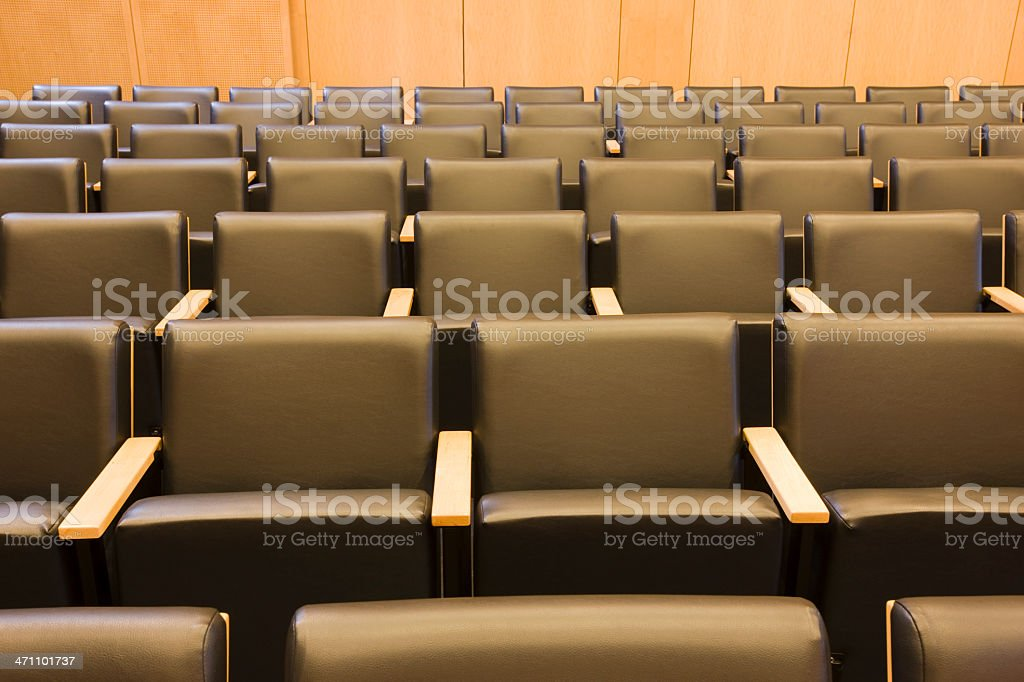Courtroom Seats in Town Hall stock photo