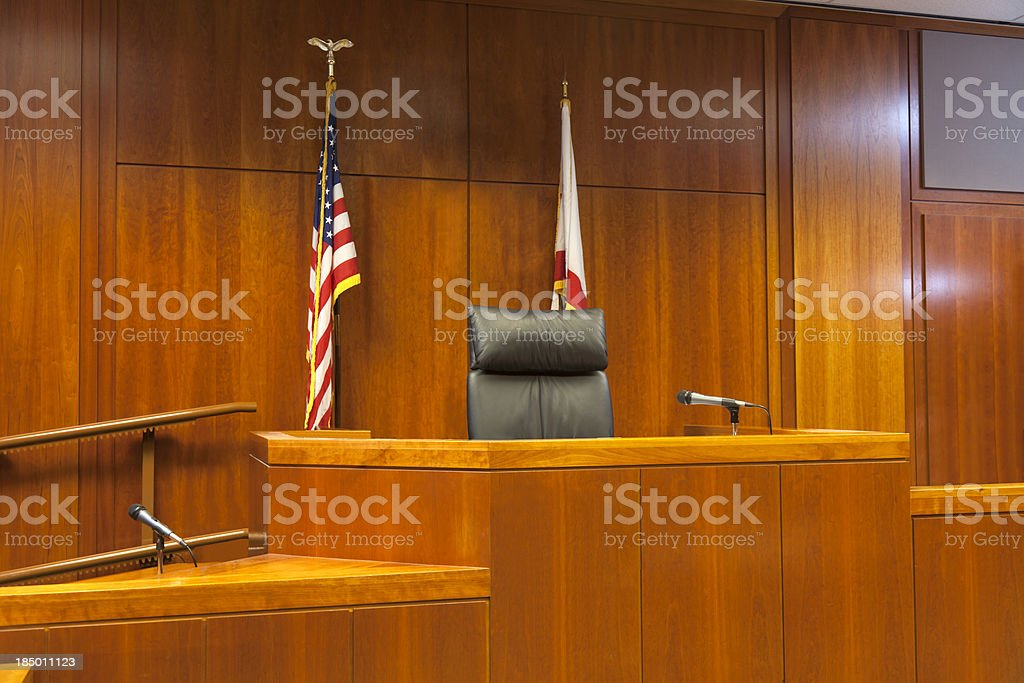 Courtroom Witness Stand and Bench stock photo