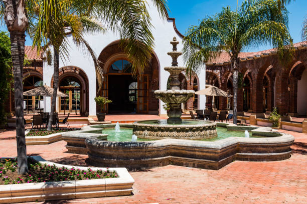 Courtyard and Fountain at Adobe Guadalupe Winery and Inn stock photo