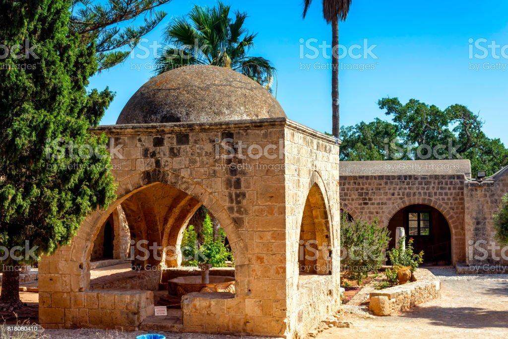 Courtyard and garden at Ayia Napa monastery. Cyprus stock photo