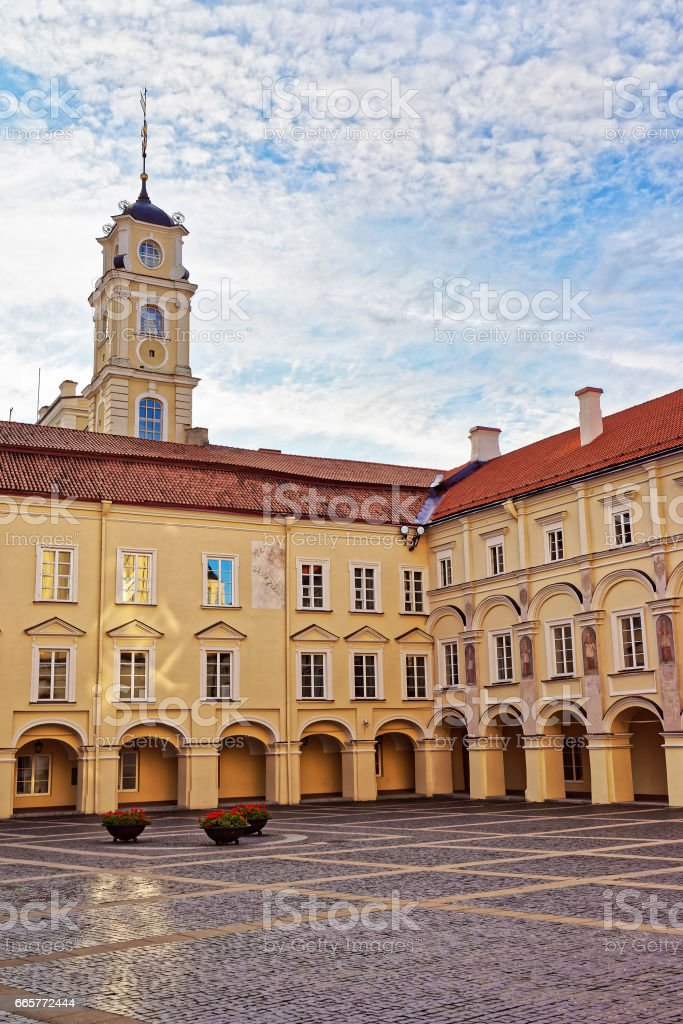Courtyard and Observatory tower at Vilnius University stock photo