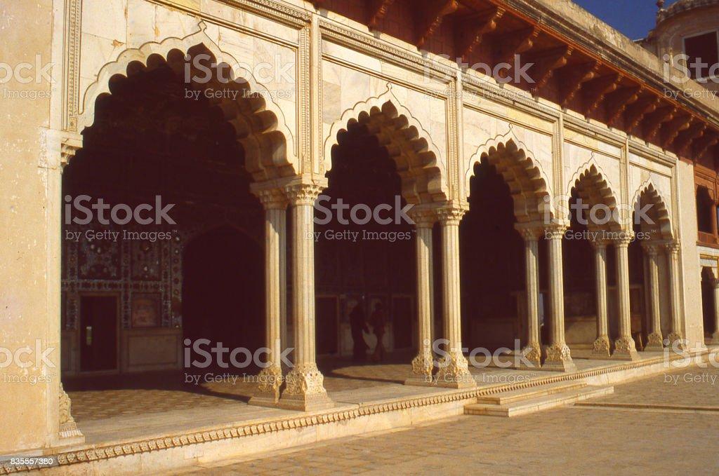 Courtyard And Veranda Below Arches And Columns Of Badshahi