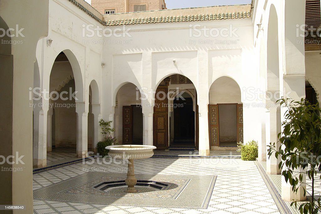 Courtyard at Bahia Palace in Marrakech royalty-free stock photo