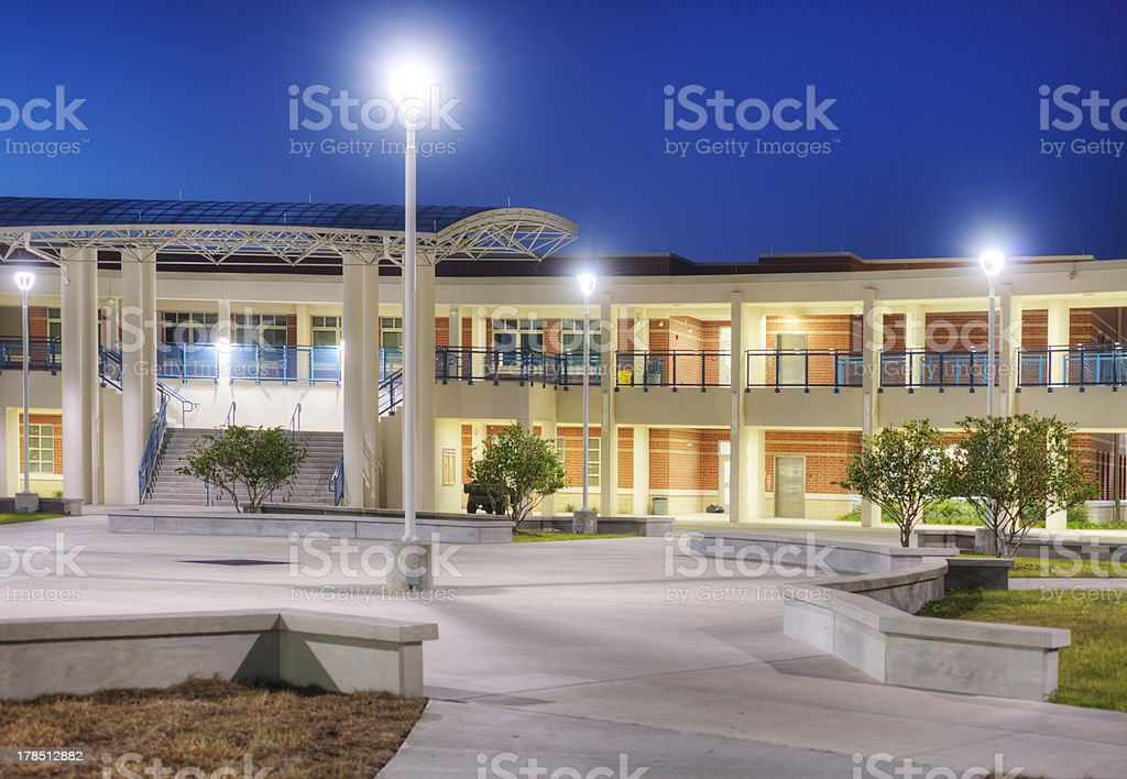 Courtyard at High School stock photo